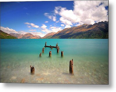 Broken Pier At Sea Metal Print by Photography By Anthony Ko