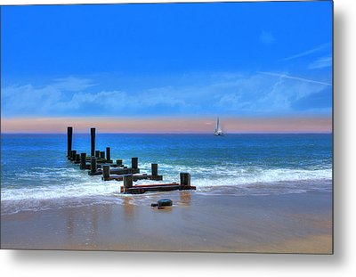 Metal Print featuring the digital art Broken Pier by Sharon Batdorf