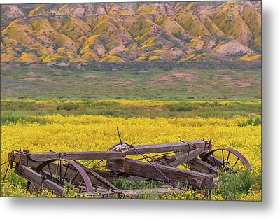 Metal Print featuring the photograph Broken Wagon In A Field Of Flowers by Marc Crumpler