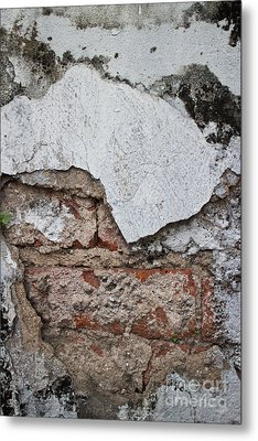 Broken White Stucco Wall With Weathered Brick Texture Metal Print by Jason Rosette