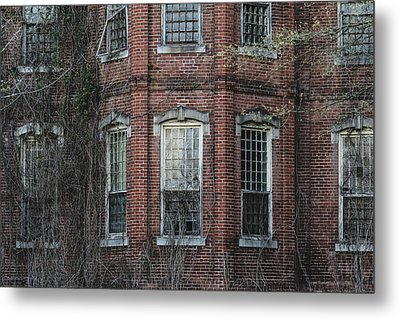 Metal Print featuring the photograph Broken Windows On Abandoned Building by Kim Hojnacki