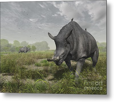 Brontotherium Wander The Lush Late Metal Print by Walter Myers