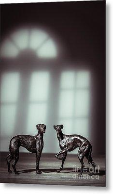 Bronze Greyhound Figures Metal Print by Amanda Elwell