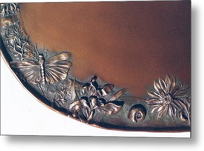 Bronze Tray Detail With Locust Metal Print by Dawn Senior-Trask