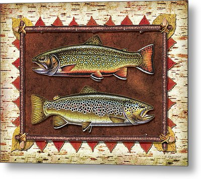 Brook And Brown Trout Lodge Metal Print by JQ Licensing