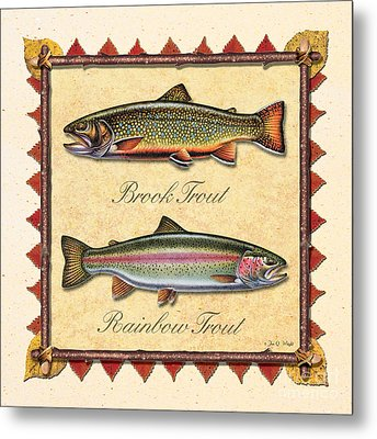 Brook And Rainbow Trout Creme Metal Print by JQ Licensing