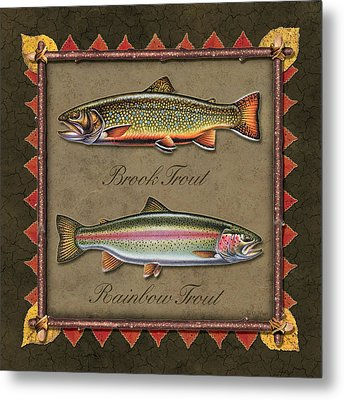 Brook And Rainbow Trout Metal Print by JQ Licensing