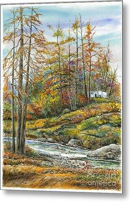Brook In Autumn Metal Print by Samuel Showman