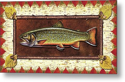 Brook Trout Lodge Metal Print by JQ Licensing