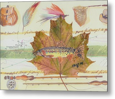 Brook Trout On Fly #2 Metal Print by Ralph Root