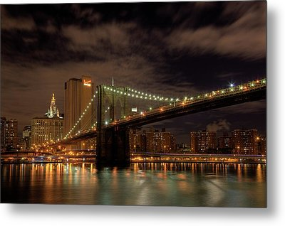 Brooklyn Bridge At Dusk Metal Print
