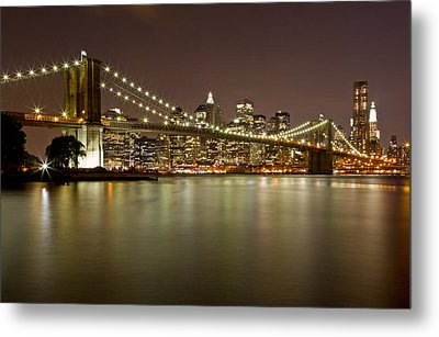 Brooklyn Bridge At Night 10 Metal Print