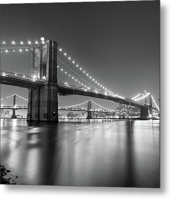 Brooklyn Bridge At Night Metal Print by Adam Garelick