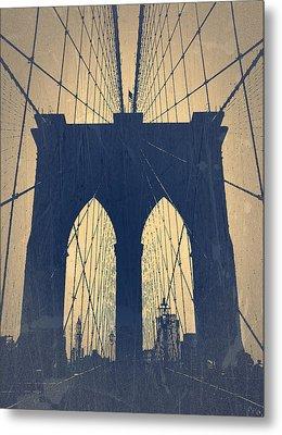 Brooklyn Bridge Blue Metal Print by Naxart Studio