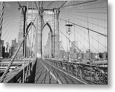 Brooklyn Bridge Deck Metal Print by Andrew Kazmierski
