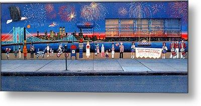 Brooklyn Bridge Fireworks Metal Print