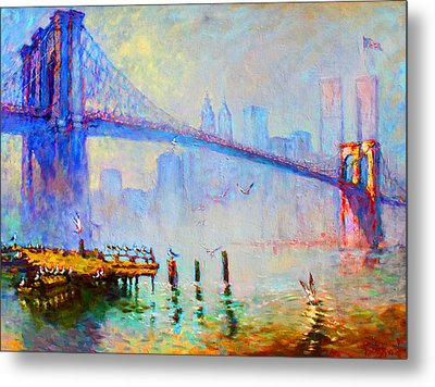 Brooklyn Bridge In A Foggy Morning Metal Print by Ylli Haruni