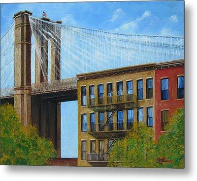 Brooklyn  Bridge Metal Print by Leonardo Ruggieri