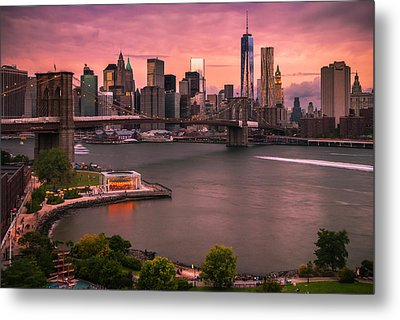 Metal Print featuring the photograph Brooklyn Bridge Over New York Skyline At Sunset by Ranjay Mitra