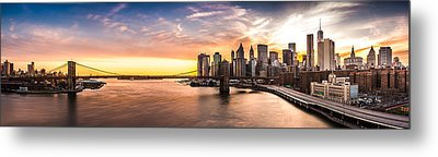 Brooklyn Bridge Panorama Metal Print by Mihai Andritoiu