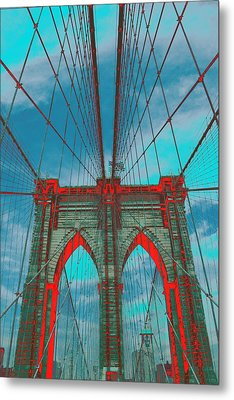 Brooklyn Bridge Red Shadows Metal Print by Christopher Kirby