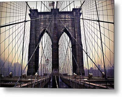 Brooklyn Bridge Suspension Cables Metal Print