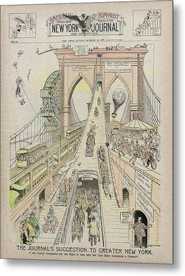 Metal Print featuring the photograph Brooklyn Bridge Trolley Right Of Way Controversy 1897 by Daniel Hagerman
