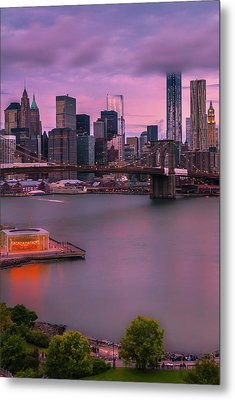 Metal Print featuring the photograph Brooklyn Bridge World Trade Center In New York City by Ranjay Mitra