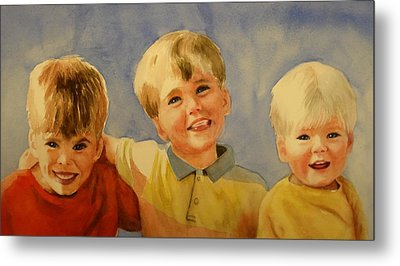 Metal Print featuring the painting Brothers by Marilyn Jacobson