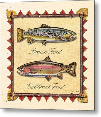 Brown And Cutthroat Creme Metal Print by JQ Licensing