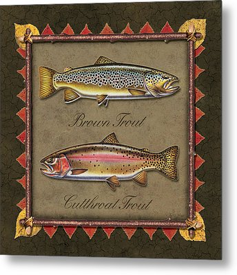 Brown And Cutthroat Trout Metal Print by JQ Licensing