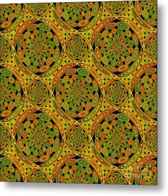 Brown And Green Circles Metal Print