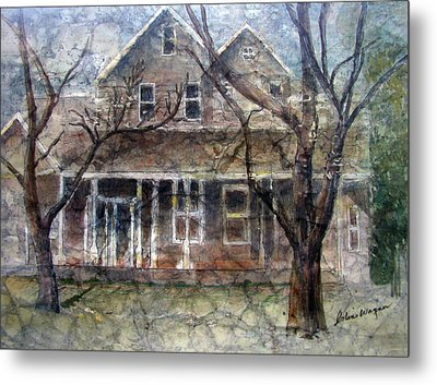 Brown Batik House Metal Print by Arline Wagner