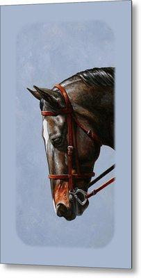 Brown Dressage Horse Phone Case Metal Print