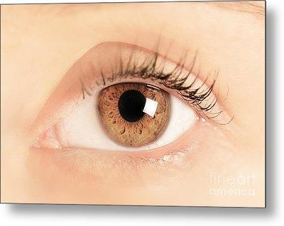 Brown Eye Of A Young Woman Metal Print by Michal Bednarek