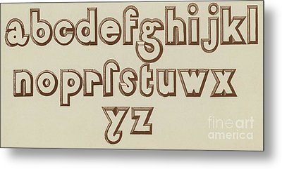 Brown Small Relief Font Metal Print by English School