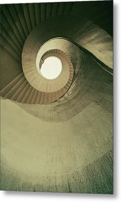 Metal Print featuring the photograph Brown Spiral Stairs by Jaroslaw Blaminsky