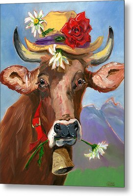 Brown Swiss In Summer Hat Metal Print by Susan Thomas