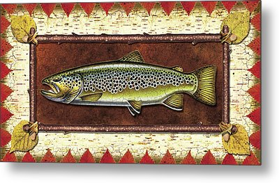 Brown Trout Lodge Metal Print by JQ Licensing