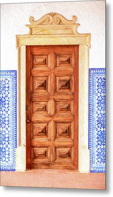 Brown Wood Door Of Old World Europe Metal Print