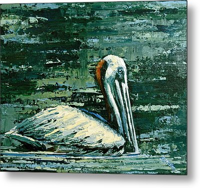 Brownie Swimming In Green Water Metal Print by Suzanne McKee