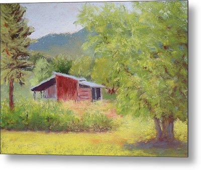 Metal Print featuring the painting Brown's Shed by Nancy Jolley