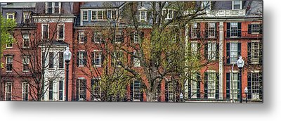 Metal Print featuring the photograph Brownstone Panoramic - Beacon Street Boston by Joann Vitali