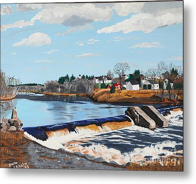 Brownville Village Dam Metal Print by Stella Sherman