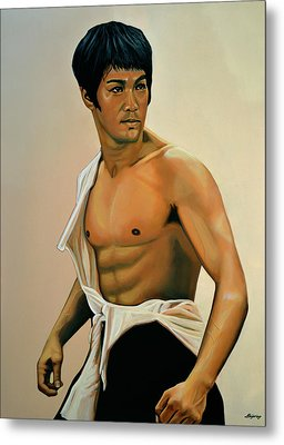Bruce Lee Painting Metal Print by Paul Meijering