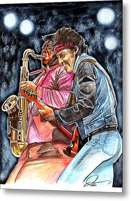 Bruce Springsteen And Clarence Clemons Metal Print by Dave Olsen