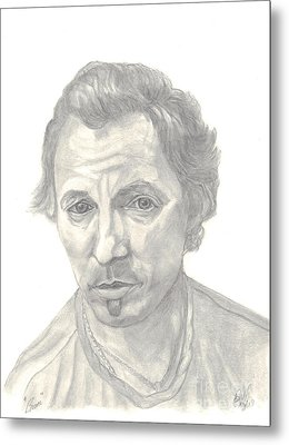 Metal Print featuring the drawing Bruce Springsteen Portrait by Carol Wisniewski