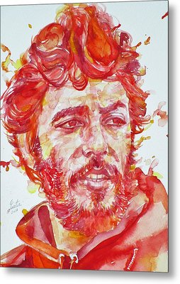 Bruce Springsteen - Watercolor Portrait.13 Metal Print by Fabrizio Cassetta