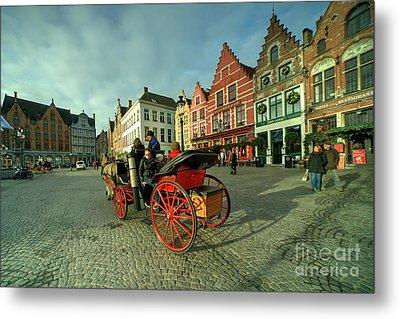 Brugge Grand Place Horse N Cart  Metal Print by Rob Hawkins