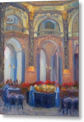 Brunch At The Museum Metal Print by Bunny Oliver